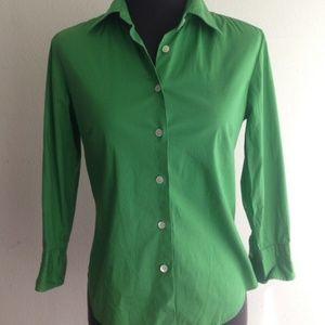 J.CREW sz XS cotton green button down shirt